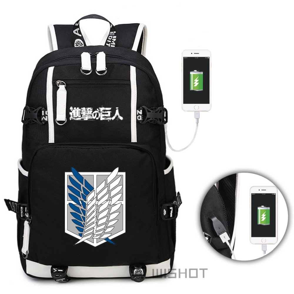 WISHOT Attack on Titan backpack Shingeki no Kyojin backpack with USB Charging PortSchool Bag travel Laptop