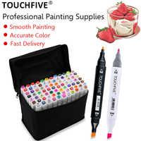 TOUCHFIVE 12/24/30/40/60/80/108/168 colores marcadores de arte Alcohol pincel a base de lápiz dibujo Manga doble cabeza marcadores arte suministros