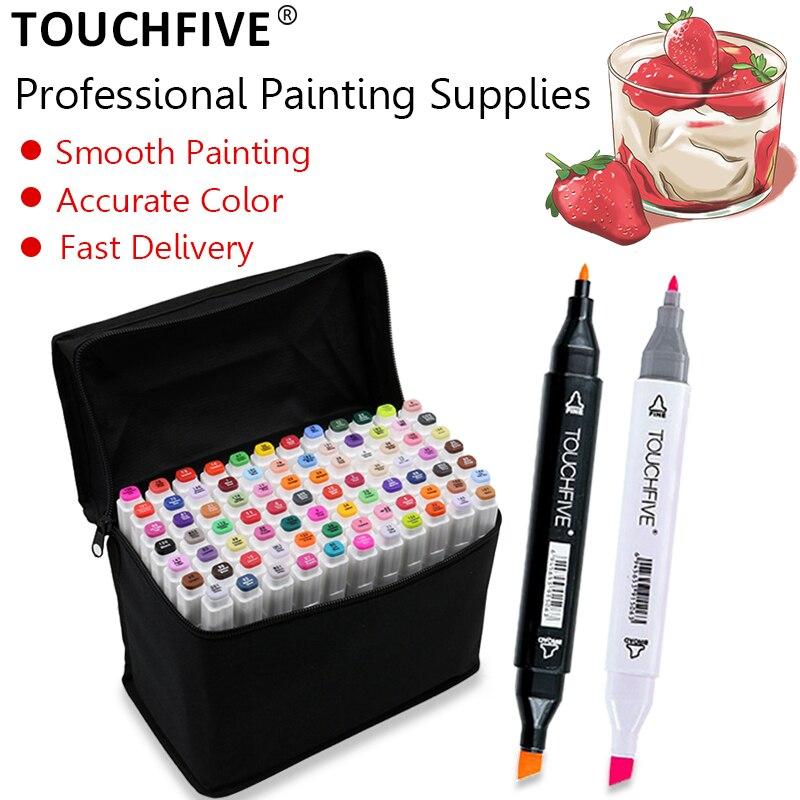 Touchfive 12/24/30/40/60/80/108/168 cores marcadores de arte álcool base escova caneta manga desenho duplo cabeça marcadores arte suprimentos