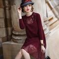 Las mujeres del otoño del resorte de la vendimia impresión de la flor elegante de la manera de seda dress ucrania diseño flojo ocasional vestidos de sweet retro vestidos rojos