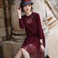 Women Spring Autumn Vintage Flower Print Elegant fashion Silk Dress Ukraine casual loose Design Dresses Sweet Retro Vestidos Red