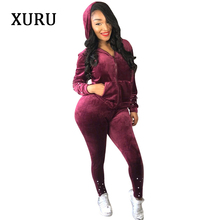 XURU Two-piece Beaded Velvet Long-sleeved Jumpsuit Womens Street Autumn and Winter Work Clothes Casual