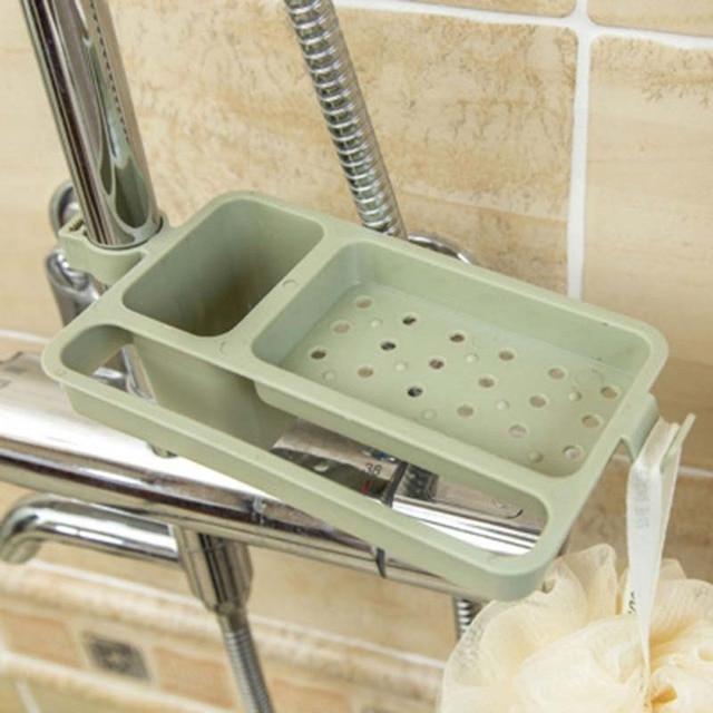 Kitchen Sink Dish Sponge Storage Holder Rack Bathroom Shelf Towel Soap Robe Hooks