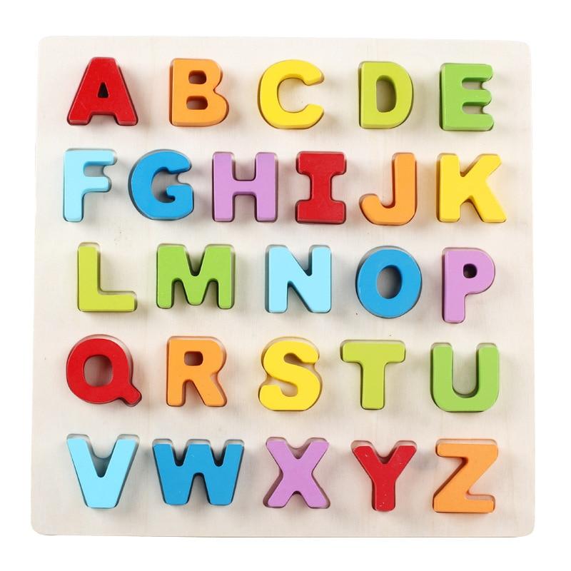 मोंटेसरी शिक्षा डिजिटल मदर इंग्लिश बिल्डिंग ब्लॉक्स 3 डी चिल्ड्रन टॉयज खिलौने माता-पिता ज्ञानोदय अवकाश पहेली लकड़ी