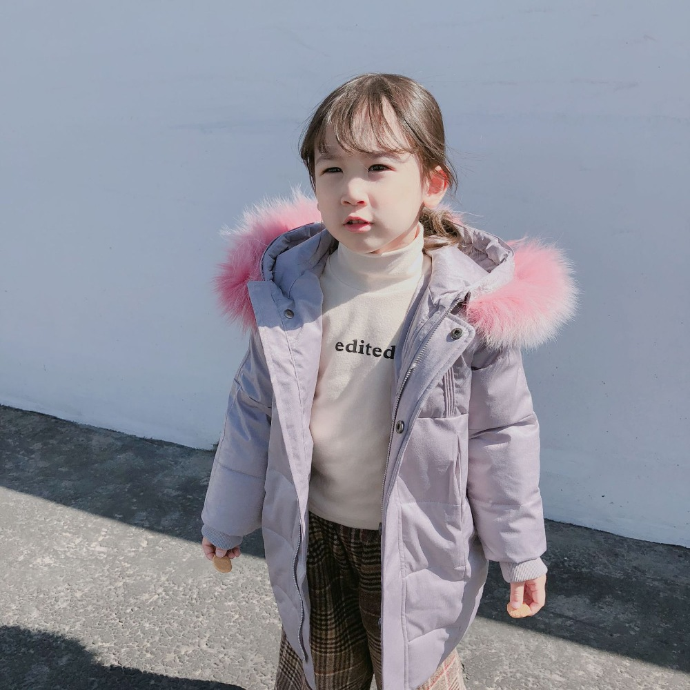 Children Girl Winter Jacket Lightweight Parkas Coat With Hood For Girls Warm Thick Down Jackets Kids Hooded Warm Fur Collar Coat 2018 kids long parkas winter jackets for girls fur hooded coat winter warm down jacket children outerwear infants thick overcoat