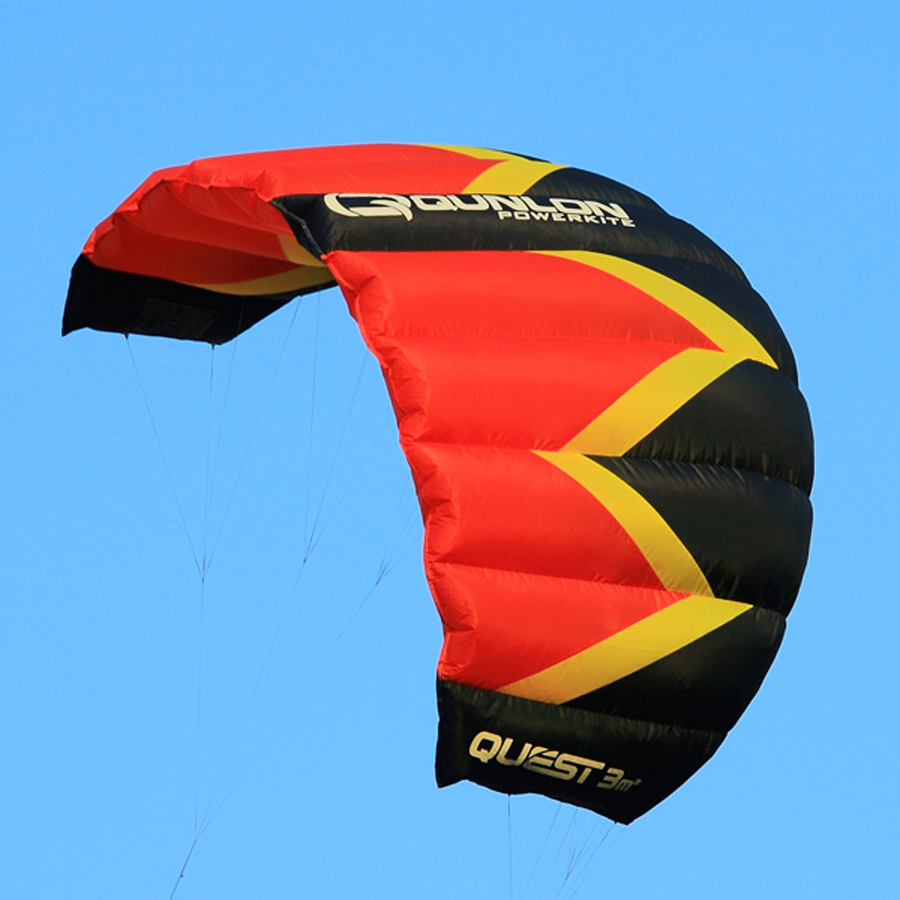 3 Sqm Nylon Fabric Dual Line Stunt Kite Red Color Kite Surfing Parafoil Traction Kite For Beginner