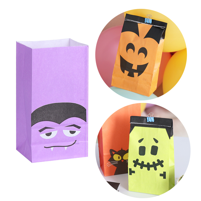 6/12pcs Halloween Festival Snacks Paper Bag Gift Bags Candy Cookie Bread Nuts Bag For Biscuits Snack Baking Package Supplies