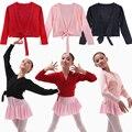 Iefiel crianças meninas de malha de balé de dança latina desgaste camisolas brasão ginástica traje crianças Casual envoltório quente - up Out desgaste 4-12Y