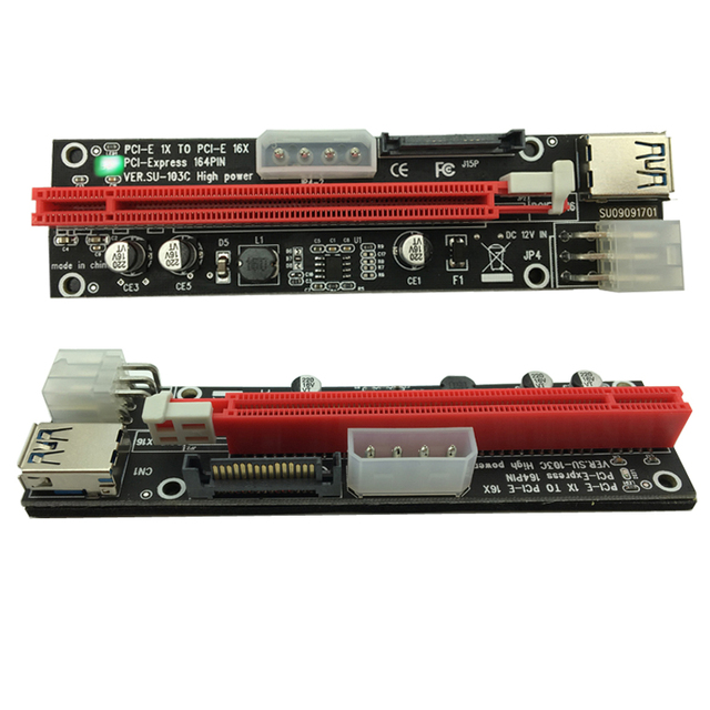 100pcs PCI-E PCI E Express 1X to 16X Riser Extender Card SATA 15 Pin 6 Pin 4 PIN 3 Power Supply LED light display For mining