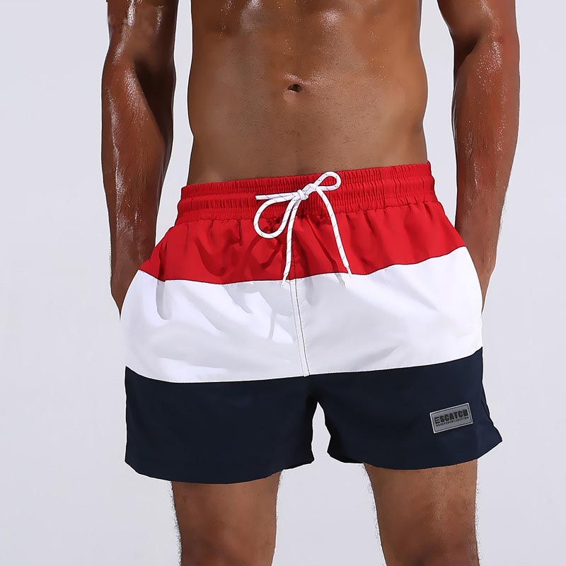 Mens Wide stripe minipants Beach speed dry breathable waterproof running shorts brief beach pants