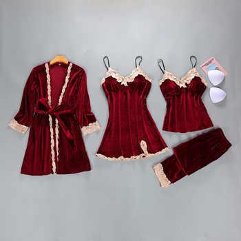 Winter Womens Velour 4PC Top Long Pants Suit Night Robe Sleepwear Sets Casual V-Neck Pajamas Autumn Nightwear Kimono Bath Gown