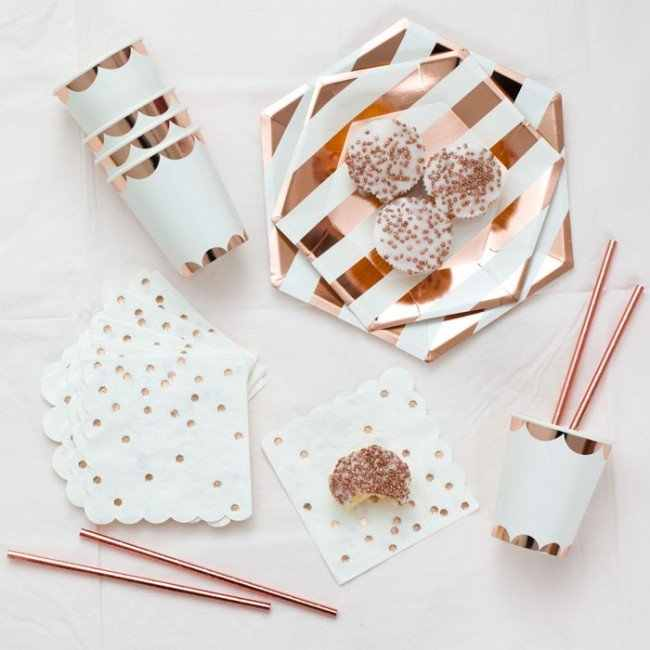 Rose gold Paper plates cups straws napkin for wedding happy birthday party decoration Disposable Tableware supplies