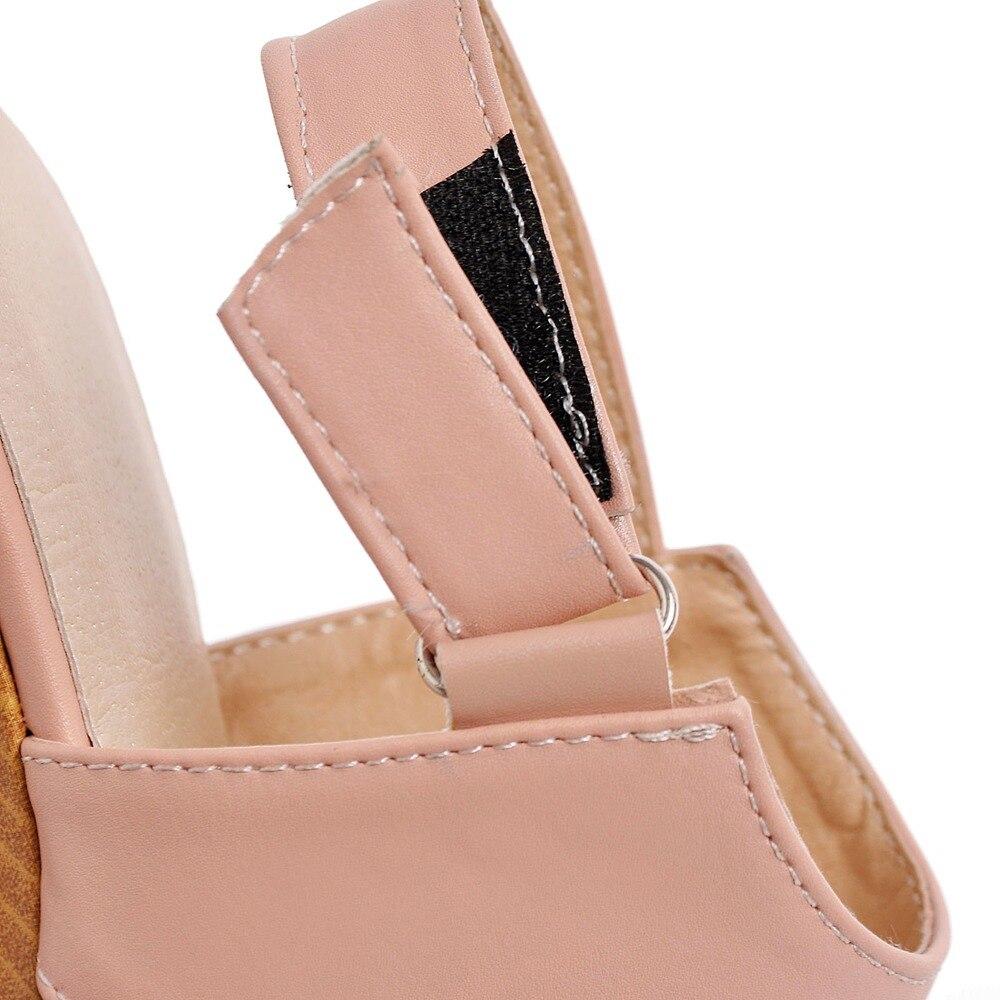 Haute D'été Casual Femelle Arrivée Nouvelle Doux Qualité Sangle Élégant 34 blanc Mignon Boucle Noir rose Taille Grande Wedge 43 Sandales Chaussures Femmes xwqAXnU