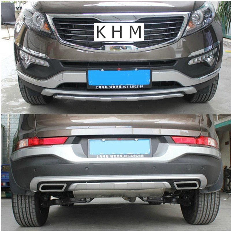 For KIA Sportager Sportage R 2011 2012 2013 2014 2015 High quality plastic ABS Chrome Front+Rear bumper cover trim Car-styling sewor c1257