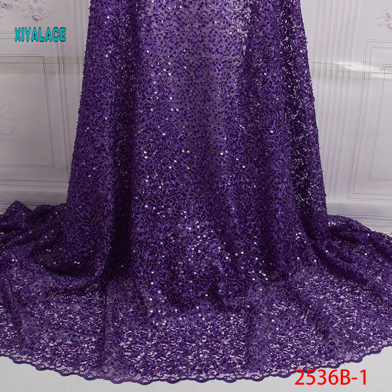 Nigerian African Lace Fabric Net Cloth Organza Newest With Flower Sequins African Tulle Lace For Wedding Party Dress YA2536B-1