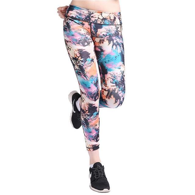 Leggings Hot Sale High Elastic Design Vintage Graffiti Slim Fashion Flower Leggings Pants For Women Free Shipping 0261