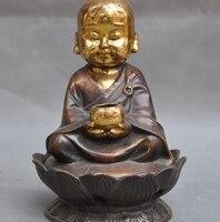 Old Chinese Buddhism Bronze Gilt Pray Buddha Monk Statue Incense burner Censer