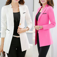 2017 Full Women Office Blazer Notched Business Apparel Chic White black Slim Long Suits Sleeve  Pink Autumn Coat Jacket Outwear