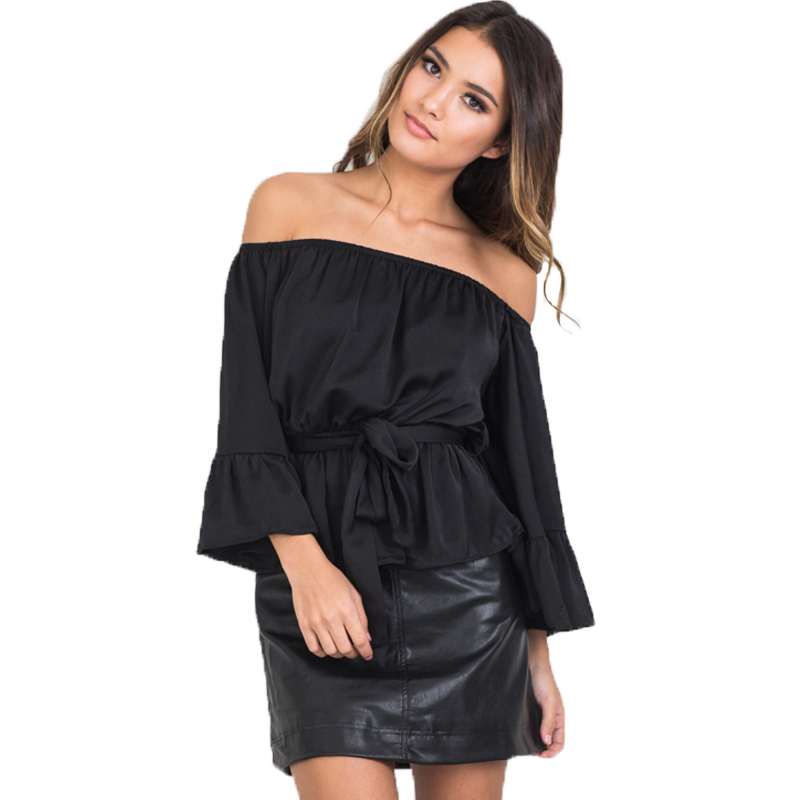 dae41dad0f0a2 Fashion Women Tops Sexy Off Shoulder Blouses Tunic Top Flare Sleeve Slash  Neck Women Blouses And Shirts Summer Ladies Tops-in Blouses   Shirts from  Women s ...
