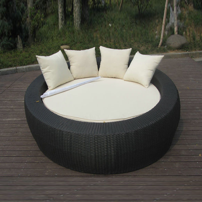 Home / Office Leisure Outdoor Rattan Daybed With White Cushion transport by sea tear drop shape outdoor rattan daybed for swimming pool poolside transport by sea
