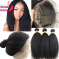 360 Lace Band Frontal With Bundles Mongolian Virgin Hair Coarse Yaki Kinky Straight Human Hair 360 Frontal Closure With Bundle