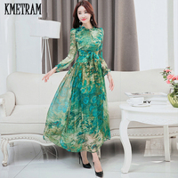 KMETRAM 2019 Silk Long Sleeve Maxi Dress Summer Floral Elegant Robe Longue Party Dresses Belted Plus Size Women Clothing YJZ222