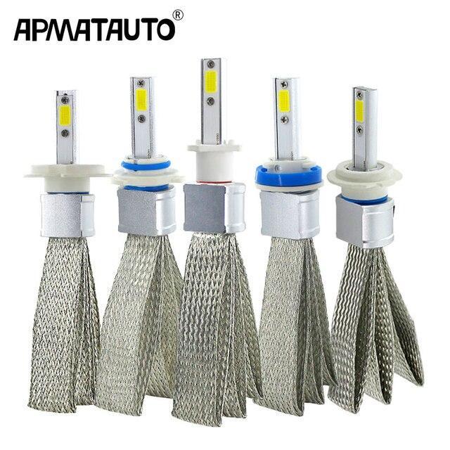 2 Chiếc H4 LED H7 H11 H8 Đèn Pha Ô Tô Bóng Đèn 9005 HB4 9006 H1 H9 H10 H16 (JP) HB3 LED Đèn COB Chip Tự Động Đèn Sương Mù 6000K 12V