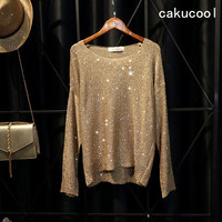 Cakucool Hot Sparkle Knit Tops Women Sequined Sweaters Long Sleeve Big O neck Casual Loose Embellish Jumpers Top Lady 6 colors
