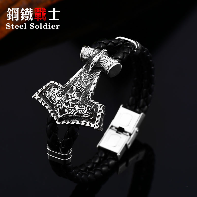 steel soldier vking genuine leather bangle bracelet fashion punk personlaity unique nordic jewelry image