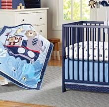 Forest Animals 3 Piece Baby Crib Bedding Set, pink, green, blue for boy and girl