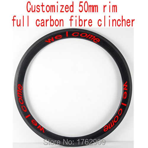 1 pièces nouveau personnalisé 700C 50mm pneu jante route vélo 3 K UD 12 K plein carbone fibre vélo roues jante 20.5 23 25mm largeur livraison gratuite