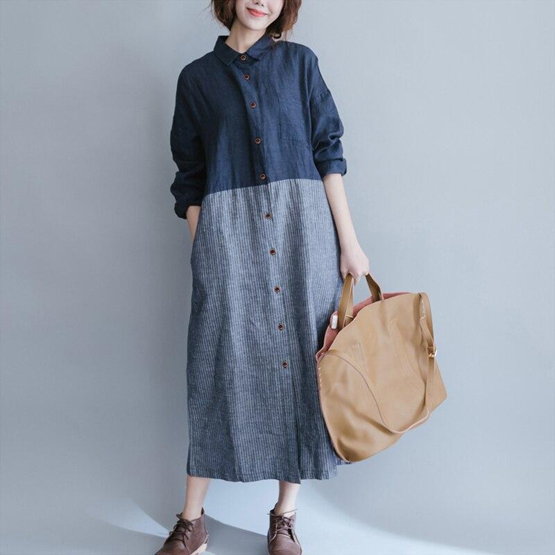 Women Loose Striped Maxi Dresses 2018 Spring Autumn Cotton Linen Dress Patchwork Long Sleeve Casual Vintage Shirt Dress S-3XL