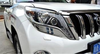 Lapetus ABS אוטומטי סטיילינג מול ראש אורות מנורות עפעפיים גבות כיסוי Trim 2 יחידות עבור טויוטה לנד קרוזר פראדו FJ150 2014-2017