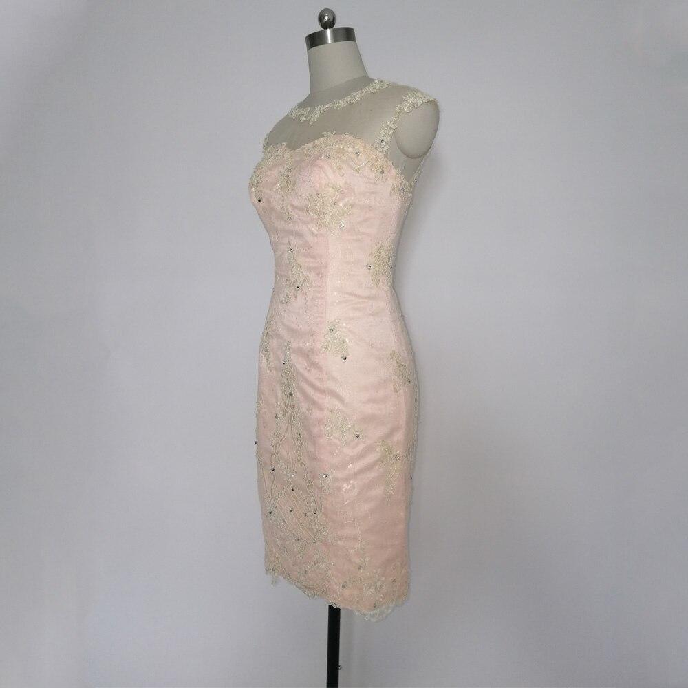 E JUE SHUNG Designer Champagne Lace Schede Kapmouwtjes Knie lengte Kralen Moeder van de bruid Jurken Korte Avondjurken - 5