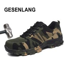 Купить с кэшбэком Men's Big Size Steel Toe Work Shoes Hiking Shoes 2019 Breathable Men/Women Camouflage Sneakers Safety Outdoor Trekking Shoes Hot