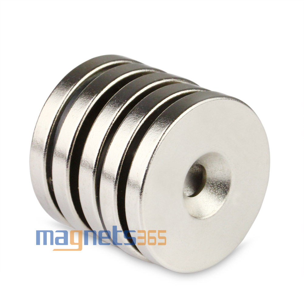 One Disc Ring Rare Earth Neodymium N50 Magnets 35mm x 10mm Countersunk Hole 6mm