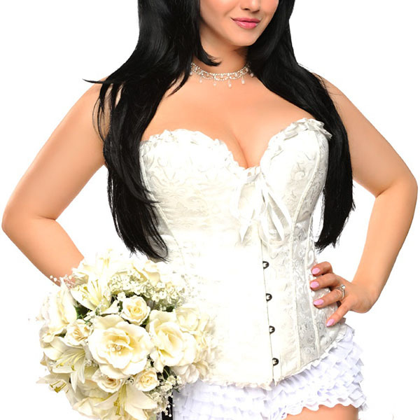Plus Size Women Overbust Gothic Bustiers & Corsets Sexy Jacquard Bridal Corselet Corpete Outwear Clothing