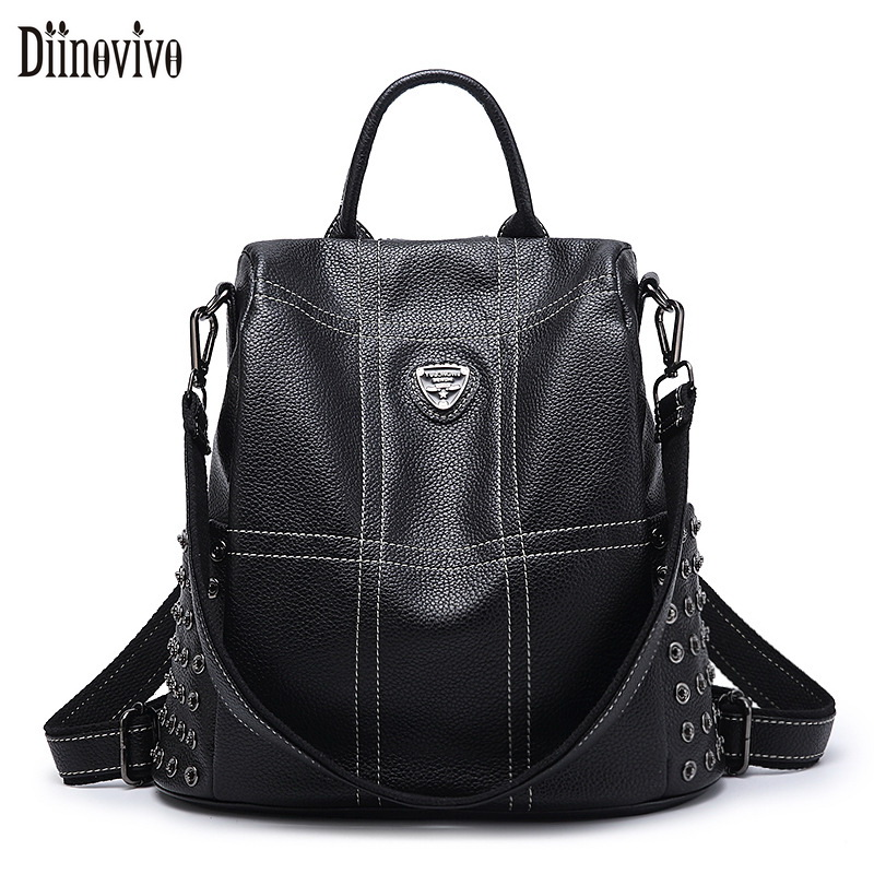 Diinovivo Women Backpack Hot Sale Fashion Causal Bag High Quality Rivet Female Shoulder Bag Pu Leather Backpack For Girl Dnv0637