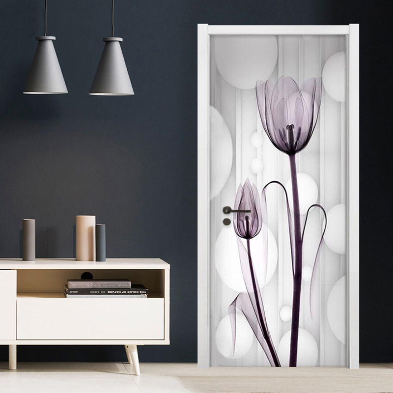 Modern Simple Transparent Flower Tulips Photo Wallpaper 3D Living Room Bedroom Door Sticker Murals Home Decor PVC Waterproof 3 D