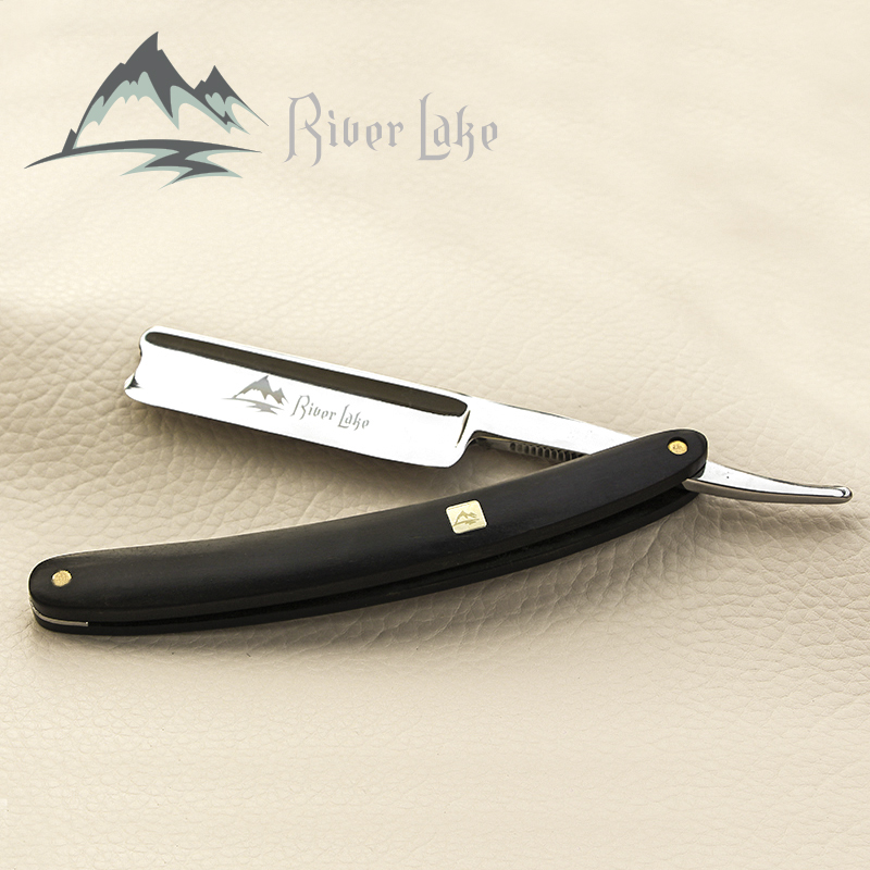 River Lake Folding Razor Steel Straight Razor Men Shaving Titan Razors Wood Handle Barber  Copper Manual Shaver Classic Scraper