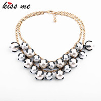 Noble Luxury Multi Layer Glass Crystal Pearl Pendants Fashion Necklace Women Accessories Statement Jewelry