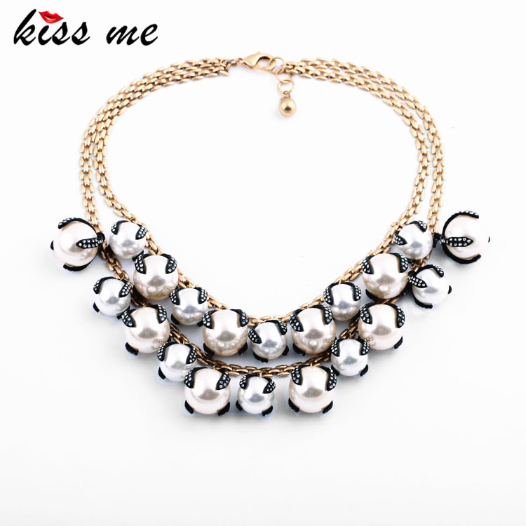 Noble Luxury Multi Layer Glass Crystal Simulated Pearl Pendants Fashion Necklace Women Accessories Statement Jewelry jiuduo jewelry genuine luxury support natural pearl necklace for women beautiful shell necklaces simulated crystal jewelry
