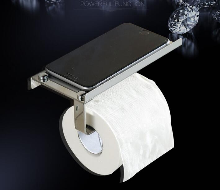 fashion chrome stainless steel wall mounted Bathroom Lavatory Toilet Paper Holder Tissue paper with plate for phone