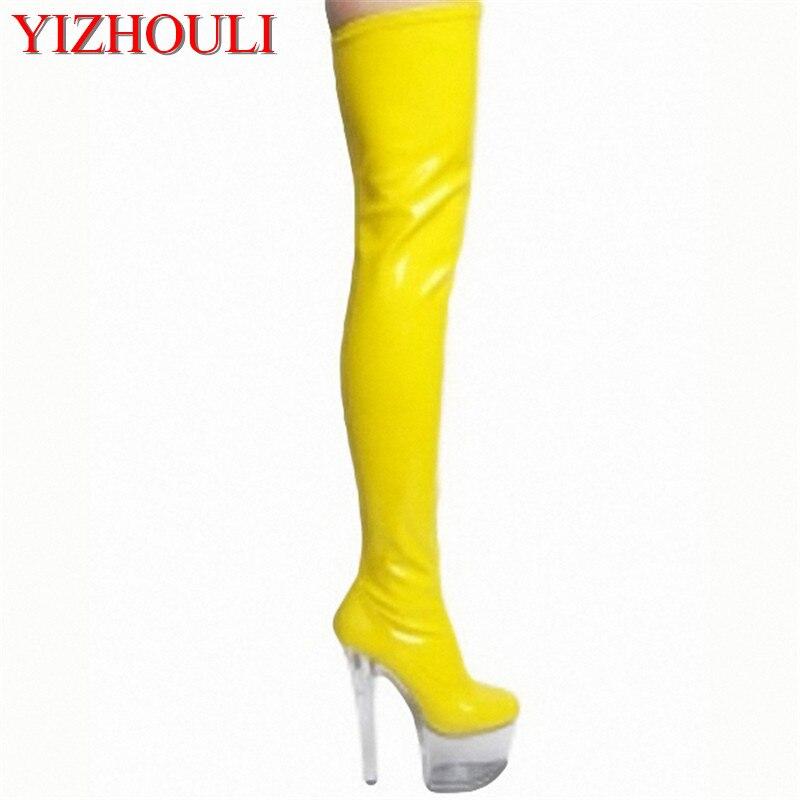 Пикантные сапоги на прозрачной подошве 15 см; модельная прогулочная обувь для сцены; модные благородные сапоги до колена