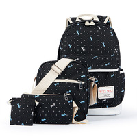 4Pcs Lot Fashion Bowknot Design School Backpack High Quality Canvas Girl S School Bag Durable Lovely