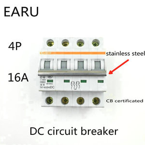 4P 16A DC 1000V DC Circuit Breaker MCB for PV Solar Energy Photovoltaic System Battery C curve CB Certificated Din Rail Mounted