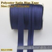 """משלוח חינם פוליאסטר סאטן הטיה מחייבת, גודל: 20mm,2cm,3/4 """",100m, בגד שמלת קצה, כהה כחול כהה כחול, חליפת שמלה"""