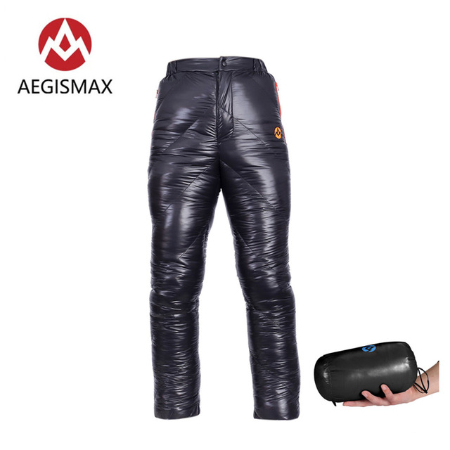 AEGISMAX Unisex 95% Piuma Doca Bianca di Imbottiture Pantaloni di Campeggio Esterna Pantaloni Impermeabile Goose Caldo Imbottiture Pantaloni 800FP