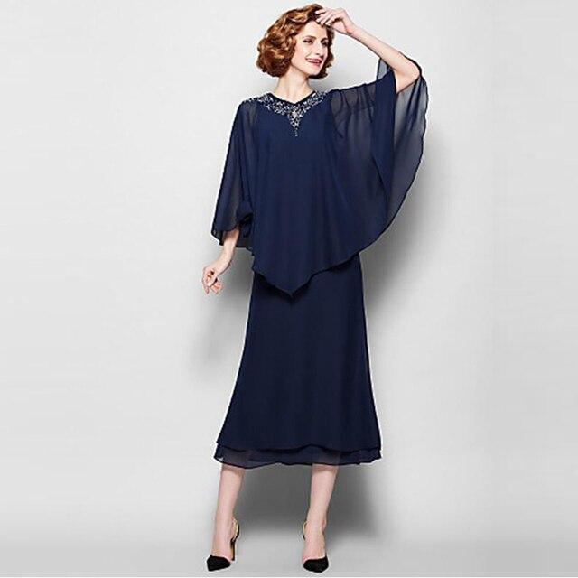 Elegante Plus Size Dark Navy de la madre de novia vestidos Pant se adapta A una línea de gasa de longitud de té con moldeado cristalino para 2015