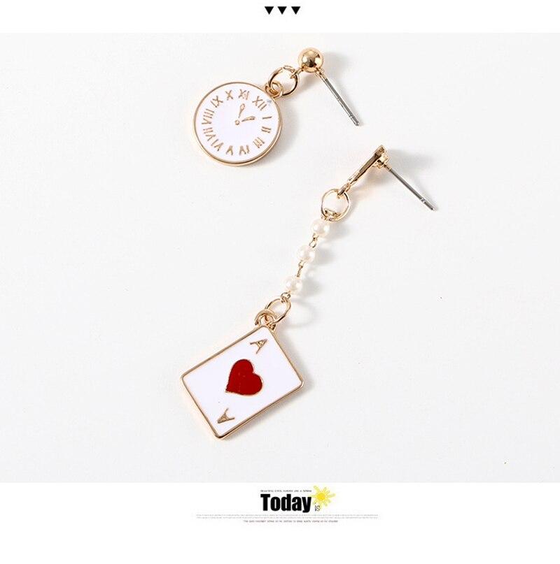 785e6abbbc3a6 Fashion Clock poker Asymmetry Heart Drop Dangle Earrings Gifts Trendy Earrings  Jewelry-in Drop Earrings from Jewelry   Accessories on Aliexpress.com ...